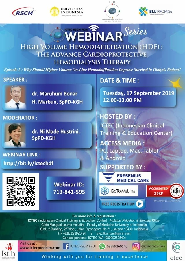 Free SKP IDI: Webinar Series Hemodiafiltration (HDF) :  📍Episode 2 : Why Should Higher Volume On-Line Hemodiafiltration Improve Survival in Dialysis Patient? 📆 Selasa 17 September 2019 Jam 12.00-13.00 WIB   Webinar Terakreditasi IDI, 2 SKP (S&K berlaku)