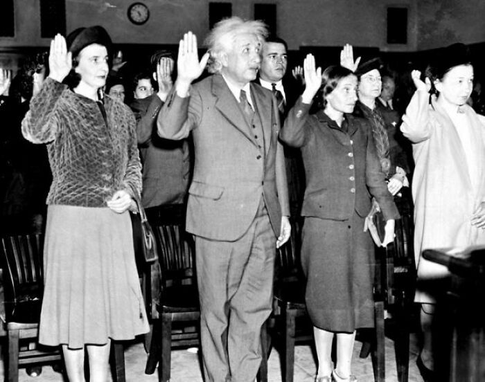 #22 Albert Einstein, His Secretary Helen (Left), And Daughter Margaret (Right) Becoming U.S. Citizens To Avoid Returning To Nazi Germany, 1940
