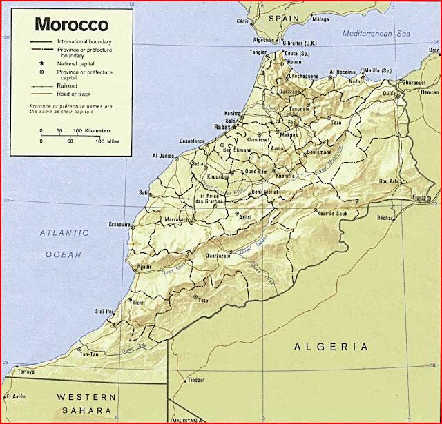 Gambar Peta Relief Maroko