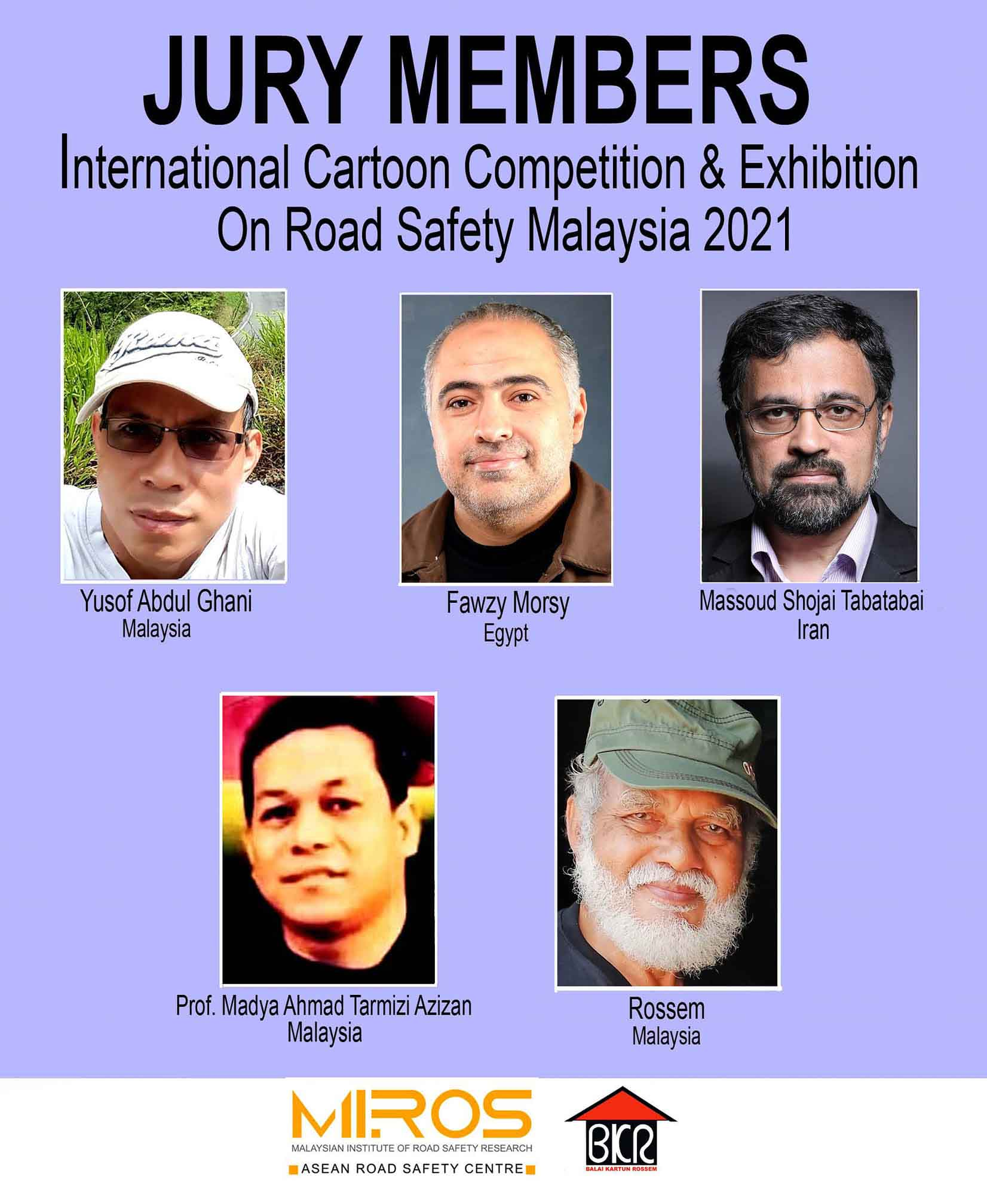 Jury of the International Cartoon Competition & Exhibition On Road Safety Malaysia 2021