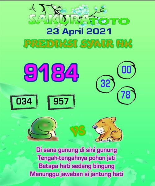 Syair HK Jumat 23 April 2021 -