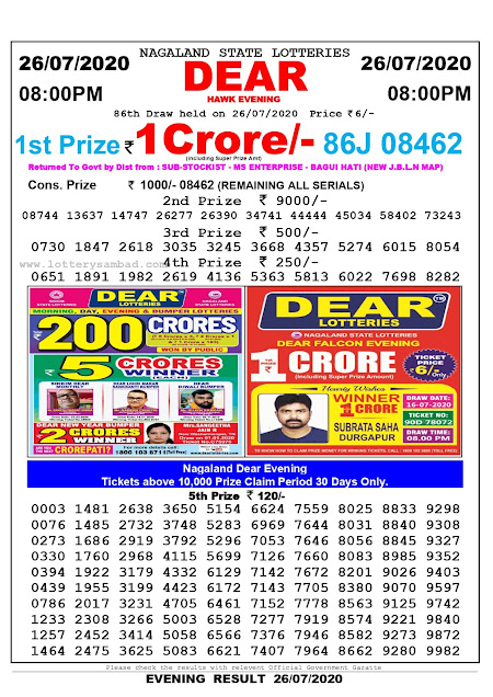 Lottery Sambad Result 26.07.2020 Dear Hawk Evening 8:00 pm