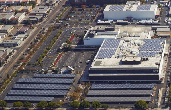 CBS Studio Fairfax solar roof and parking lots