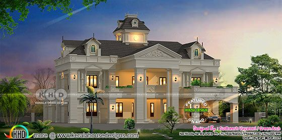 Night view of 4 bedroom luxury Colonial home
