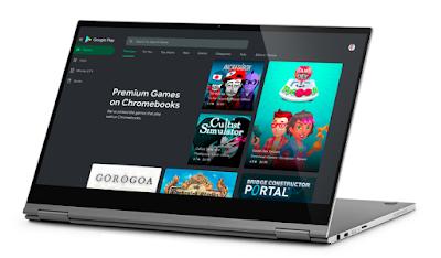 Chromebook mit geöffnetem PlayStore