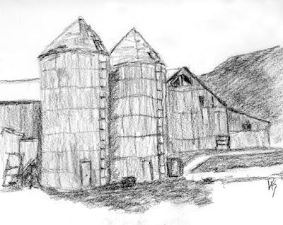 charcoal sketch silo barn rural spanish fork utah