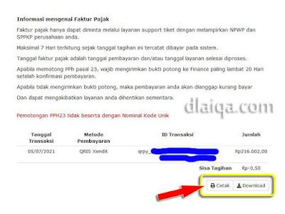 klik 'Cetak' atau 'Download' untuk faktur pelunasan