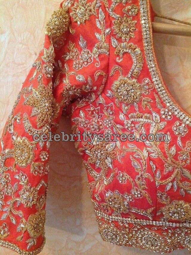 Elbow Length Blouse Designs for Silk Sarees