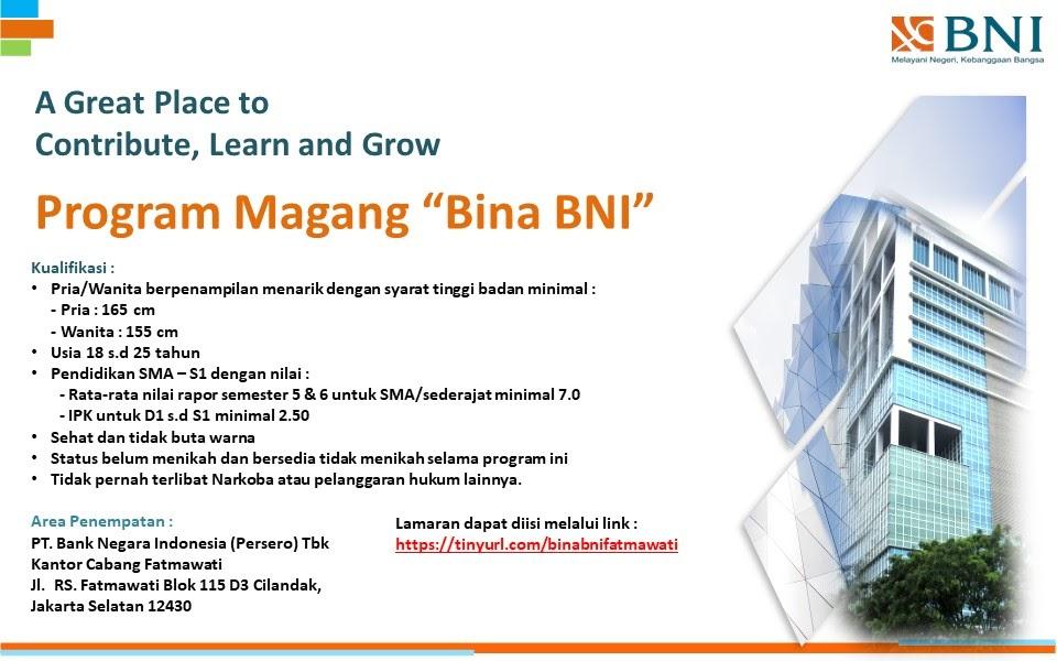 Lowongan Kerja BINA BNI Bank Negara Indonesia (Persero) Tingkat SMA SMK