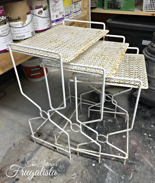 MCM Metal Mesh Nesting Tables Before Makeover