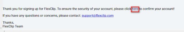 تأكيد تسجيل flexclip