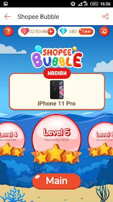 Cara Main Game Shopee Bubble Bintang 3