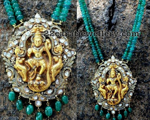 Victorian Style Pendant with Emerald Beads