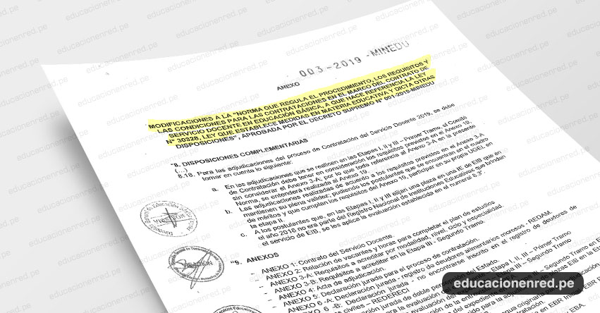 MINEDU publicó Anexo del Decreto Supremo Nº 003-2019-MINEDU que modifica el procedimiento, los requisitos y las condiciones para la Contratación Docente 2019 - www.minedu.gob.pe