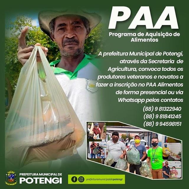 Potengi abre mais inscrições no PAA Alimentos até 10 de agosto