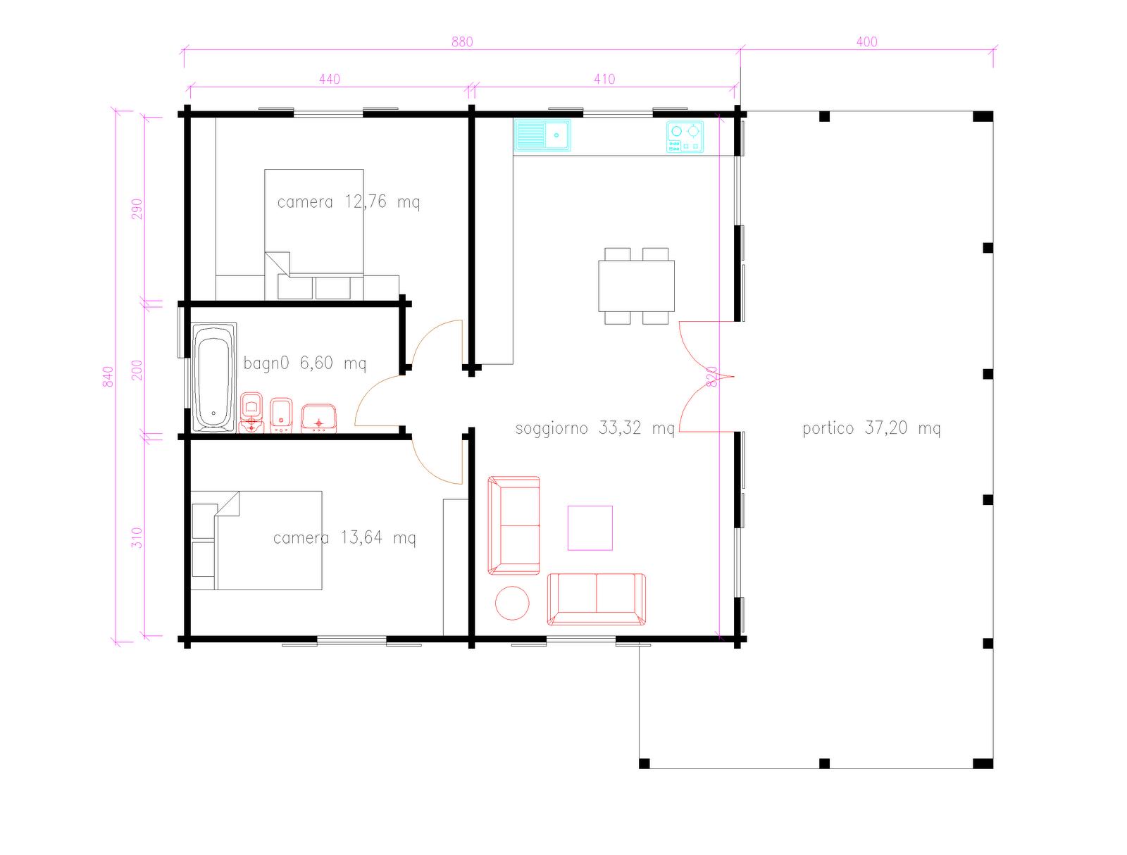 Progetti di case in legno casa 74 mq portico 37 mq for Progetti di case