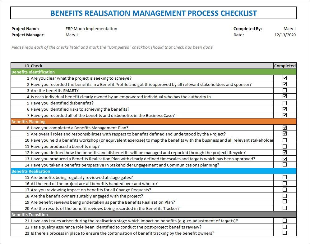 Benefit Realization Management Process Checklist
