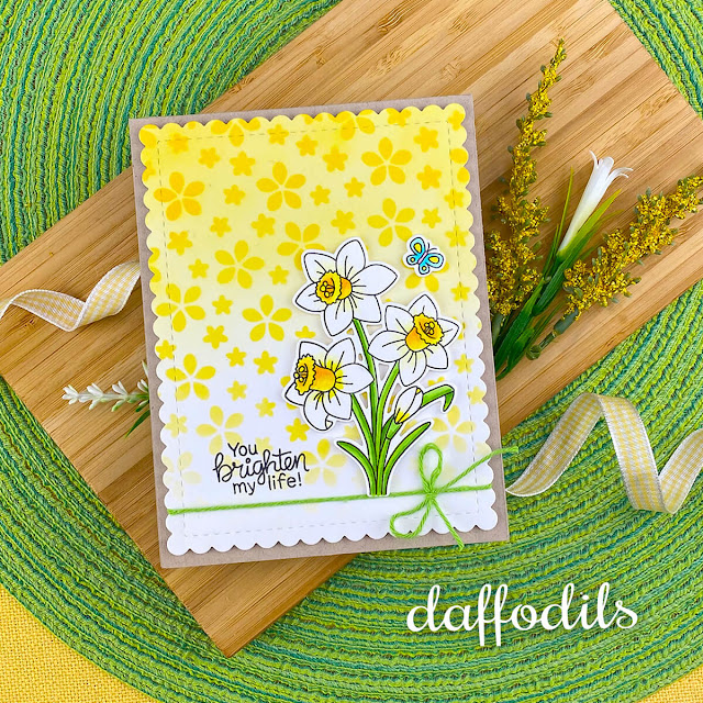 Daffodil Card by Jennifer Jackson | Daffodils Stamp Set, Petite Flowers Stencil and Frames & Flags Die Set by Newton's Nook Designs #newtonsnook #handmade