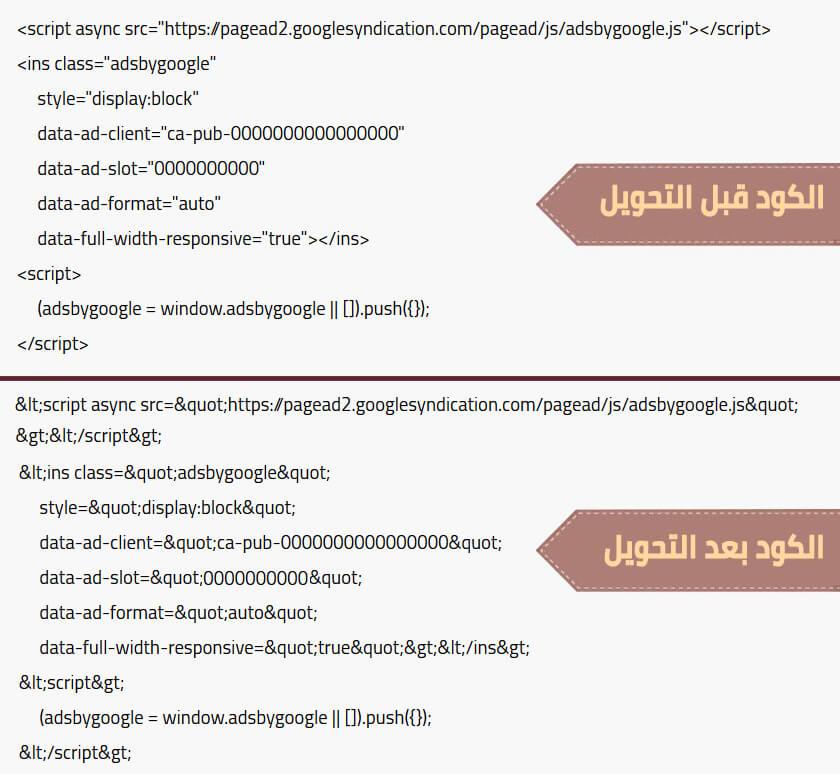 convert code google adsense