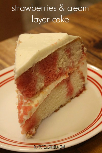 Strawberries & Cream Layer Cake #recipe #dessert #cake #strawberry