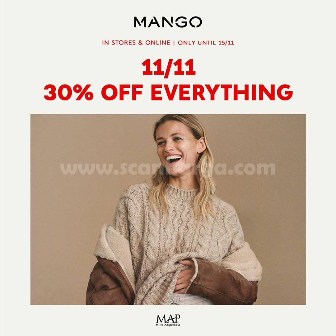 Promo MANGO: 11/11 Disc 30% Off Everything [In Store & Online]