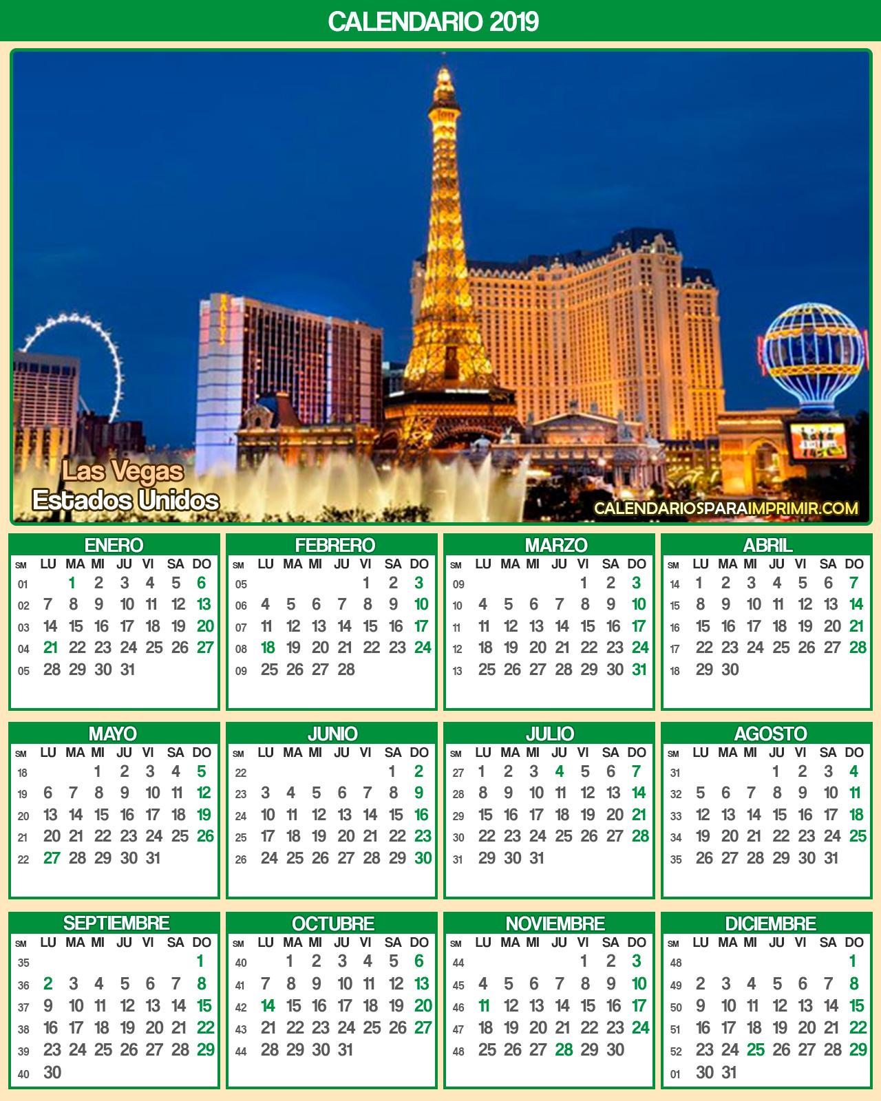 calendario estados unidos 2019