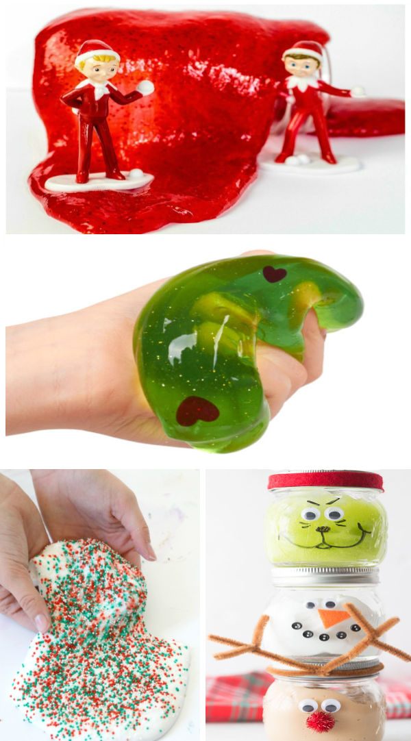 30+ CHRISTMAS PLAY RECIPES FOR KIDS: From Santa SLIME to GRINCH GOO it's all here! #slime #holidayslime #holidayslimeforkids #christmasslime #christmascraftsforkids #growingajeweledrose #activitiesforkids