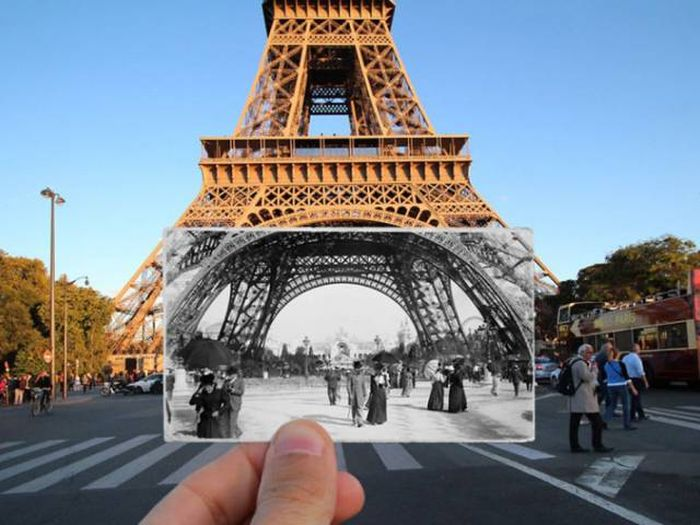 The Eiffel Tower now and in 1900.