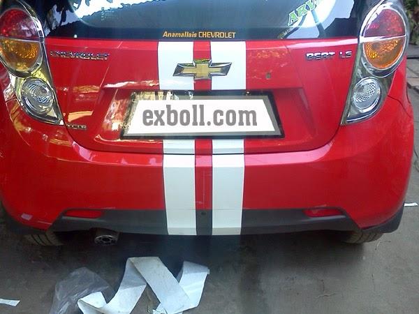Chevrolet Beat Red Colour Strip Sticker Designs Car Accessories