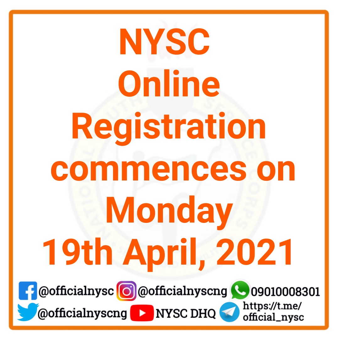 NYSC 2021 Batch 'A' Online Registration Guidelines   Stream I, II