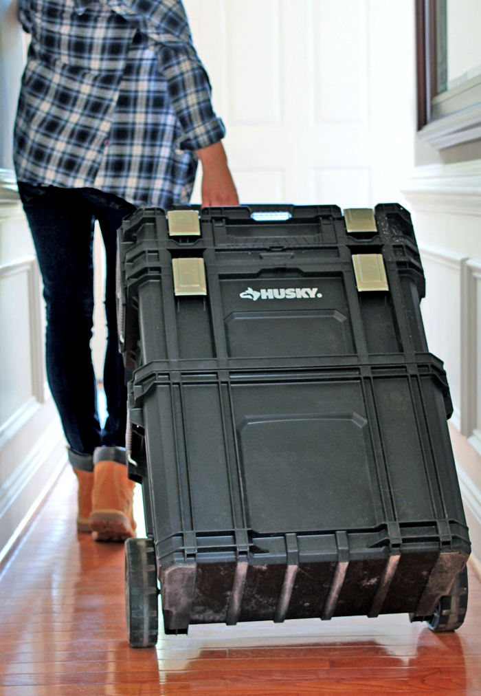 tools on wheels - garage organization - Cristina Garay carrying rolling tool box