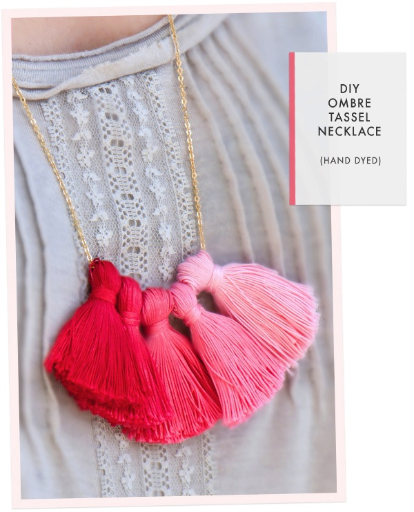 oh the lovely things diy ombre tassel necklace. Black Bedroom Furniture Sets. Home Design Ideas