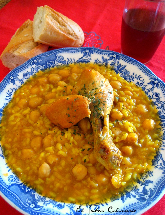 potaje de garbanzos con arroz y pollo receta facil