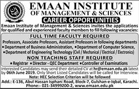 Emaan Institute Of Management And Sciences Jobs