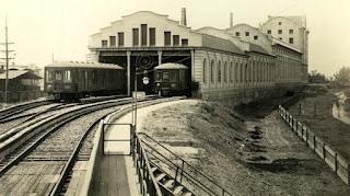 Las cocheras sin la estación y sin el puente (aprox 1930)