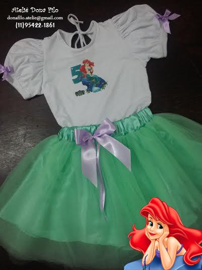 Fantasia Infantil com Tutu e Camiseta Personalizada para Festa Tema Pequena  Sereia - Ariel 9a4caae04f7