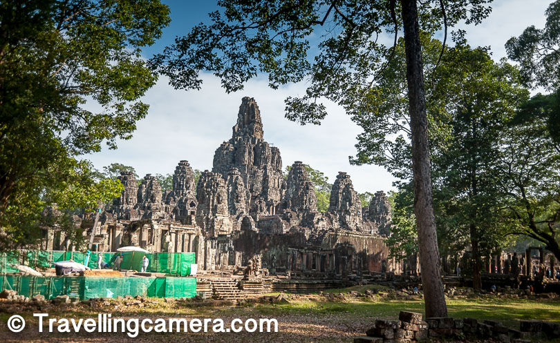 We tried to capture the complete structure of Bayon. Unfortunately some restore work was going on in the temple and therefore you can see the green barricades. After Ta Prohm, Bayon was the most beautiful temple in Angkor Wat complex.