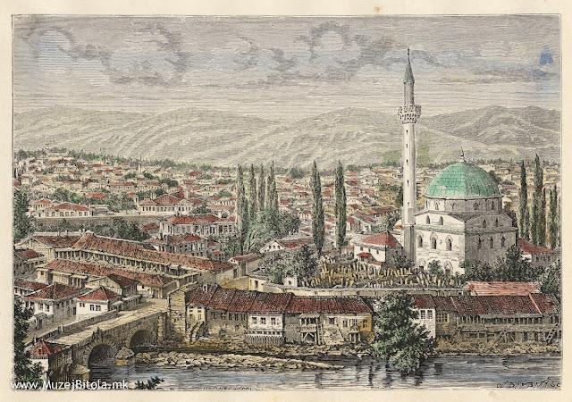 H.Catenacci, Monastir 1878 година. Литографија од Битола изработена од фотографија.