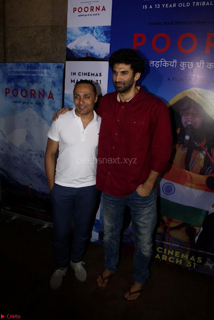 Aditya Roy Kapoor with Star Cast of MOvie Poorna.JPG (5) Red Carpet of Special Screening of Movie Poorna ~ .JPG