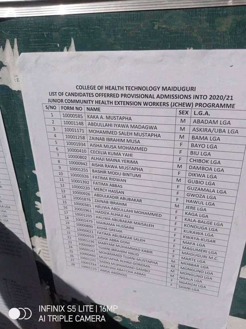 College of Health Tech Maiduguri Admission List 2020/2021