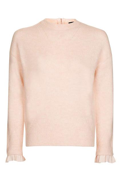 pink jumper frill sleeeve