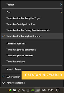 Memunculkan Virtual Keyboard di Taskbar - Catatan Nizwar ID