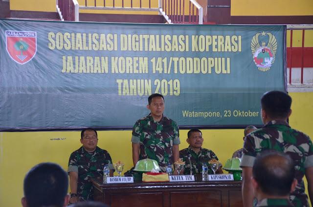 Buka Sosialisasi E Digitalisasi Koperasi, Ini Harapan Kasrem 141/Tp