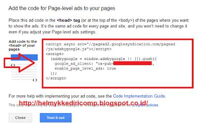 Memasang Iklan Adsense Page Level