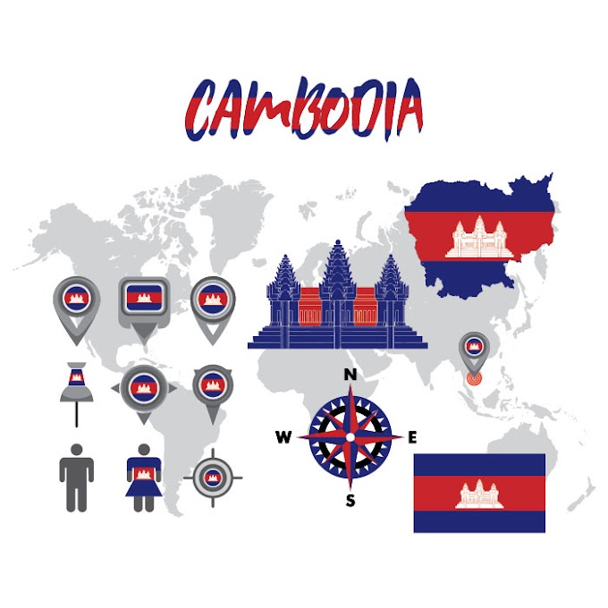 Cambodia Map Vector Pack illustration free vector