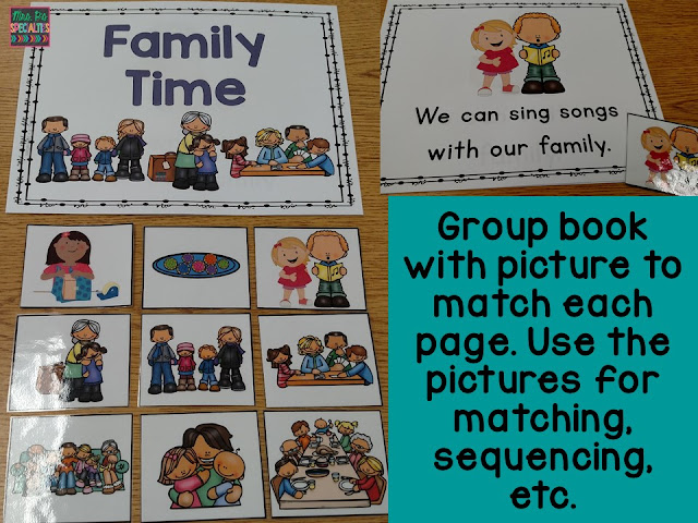 photo of the Family time book and pictures included in the theme unit