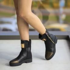 Ghete moderne pentru fete negre cu insertie metalica aurie