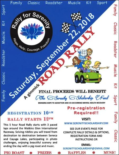 9-22 Road Rally for Serenity Scholarship Fund