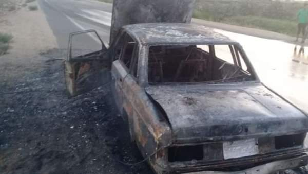 السيطرة على حريق بسيارة بسبب ماس كهربائى بشارع الجبانه في سوهاج