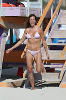 Kelly Bensimon in a Pink Bikini on Miami Beach